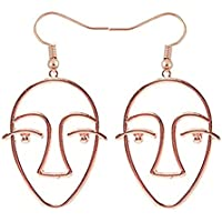 NOUMANDA Statement Human Face Shaped Earrings Hollow Out Dangling Earrings for Women (rose gold)