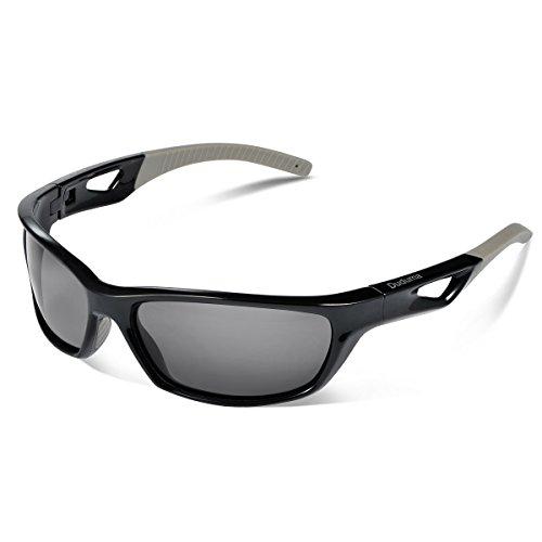 Duduma メンズ レディース 偏光 スポーツ サングラス 運転 釣り用TR80821 (ブラック/ブラック)