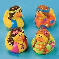 Fun Express Rubber Duckie Ducky Peace Hippie Ducks Party Favor Set (12 Piece) [並行輸入品]