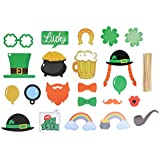 BESTOYARD 聖パトリックの日フォトブースの小道具四つ葉のクローバー春のテーマ写真の小道具聖パトリックアイルランドの祭典パーティー用品24個