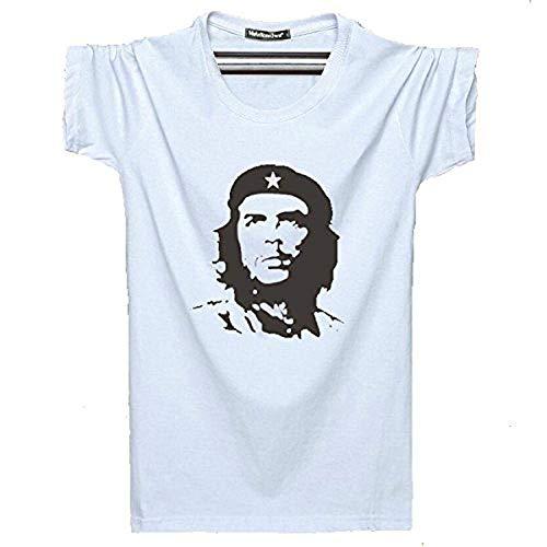 KitMall Tシャツ チェ・ゲバラ CHE GUEVARA メンズ レディース おしゃれ キューバ革命の英雄 かっこいい Tシャツ (L, 白)
