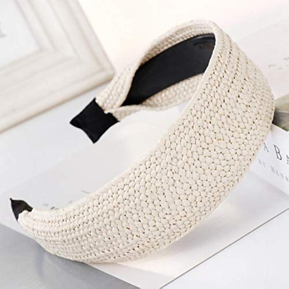 ひどく強大な冷ややかなQuzama-JS 信頼できるわら織りヘアバンド結び目ヘッドバンドユニークヘアフープヘアアクセサリー(None 平板米色)