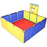 Easygou 子供用スクエアオーシャンボールピットプールゲームプレイテント ミニバスケットボールフープ付き ポータブル折りたたみ屋内屋外子供用おもちゃ ボールは含まれません 117cm x 117cm x 41cm ゴールド EG-2680653116