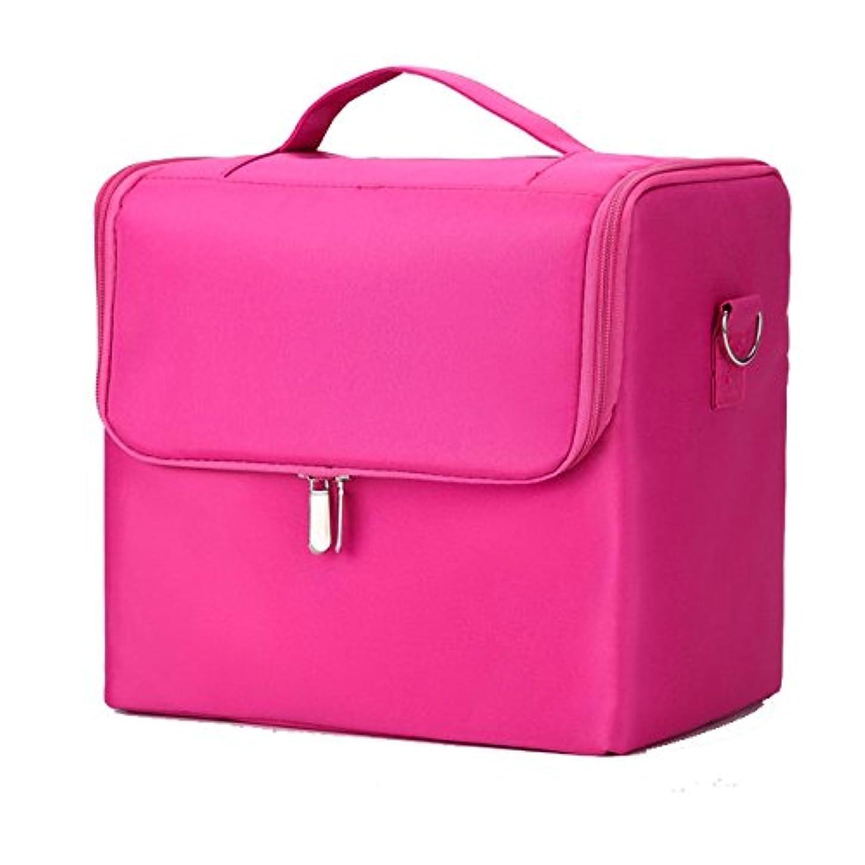 マージン出発する熟達「XINXIKEJI」メイクボックス コスメボックス ネイルボックス 2段 大容量 機内持ち込み可 洗える 肩掛け 化粧ボックス スプロも納得 収納力抜群 かわいい 祝日プレゼント 取っ手付 コスメBOX桃色