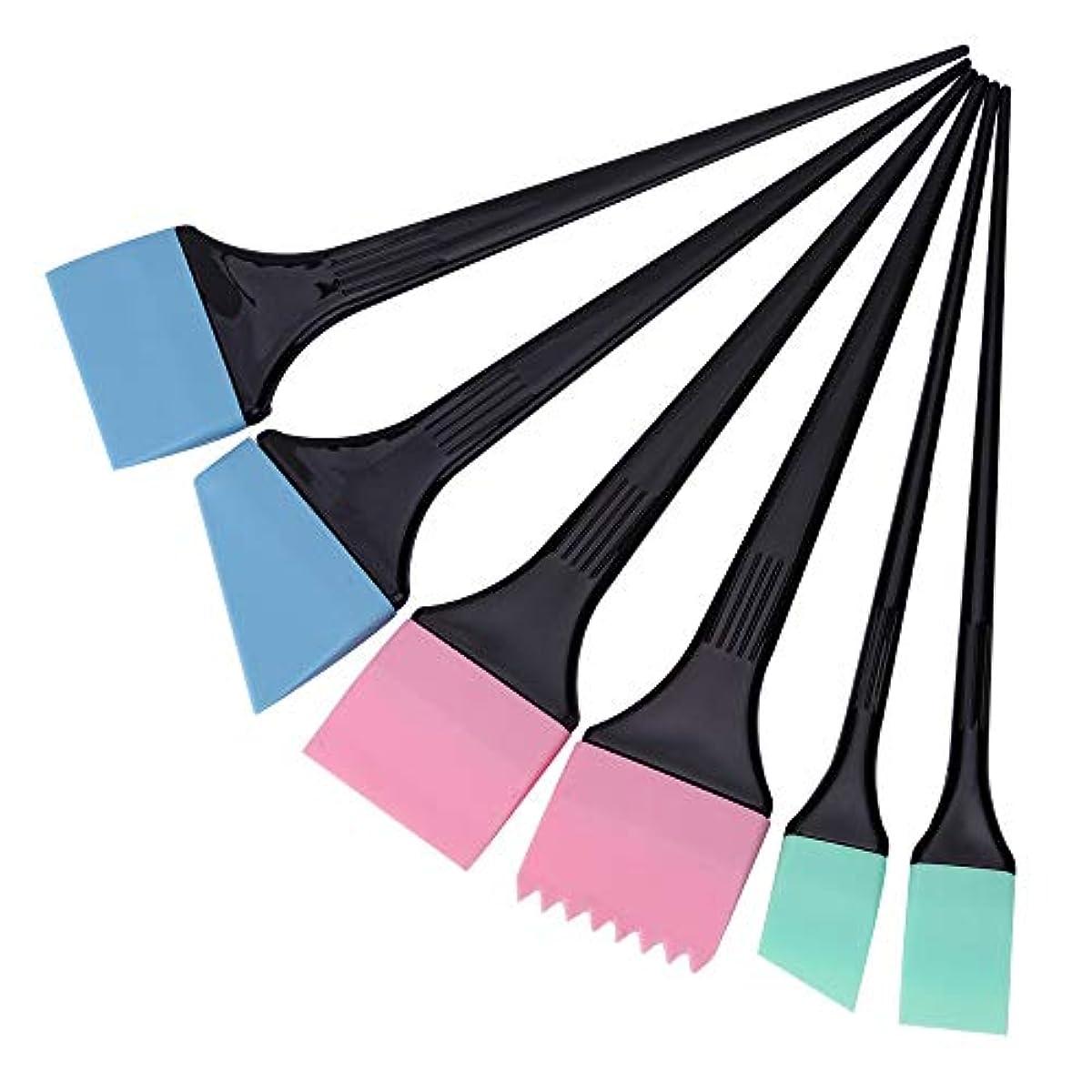 両方非互換アレルギーヘアダイコーム&ブラシ 毛染めブラシ 6本/セット 着色櫛キット プロサロン 理髪スタイリングツール へアカラーセット グリーン