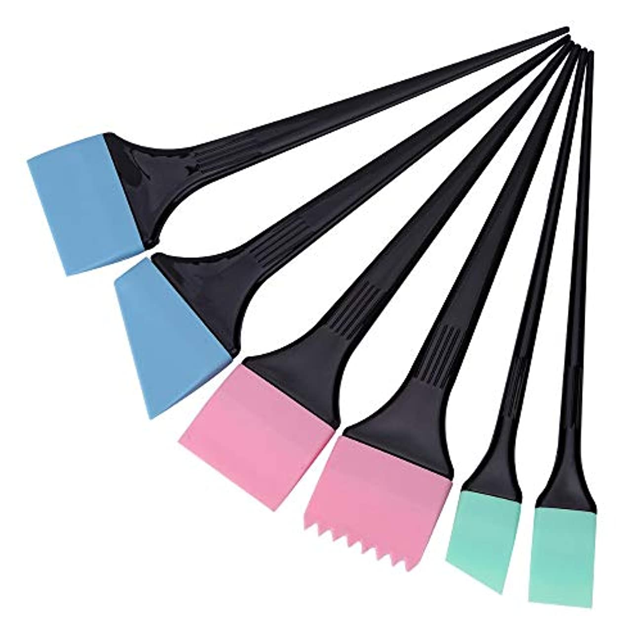 進捗避難するセマフォヘアダイコーム&ブラシ 毛染めブラシ 6本/セット 着色櫛キット プロサロン 理髪スタイリングツール へアカラーセット グリーン