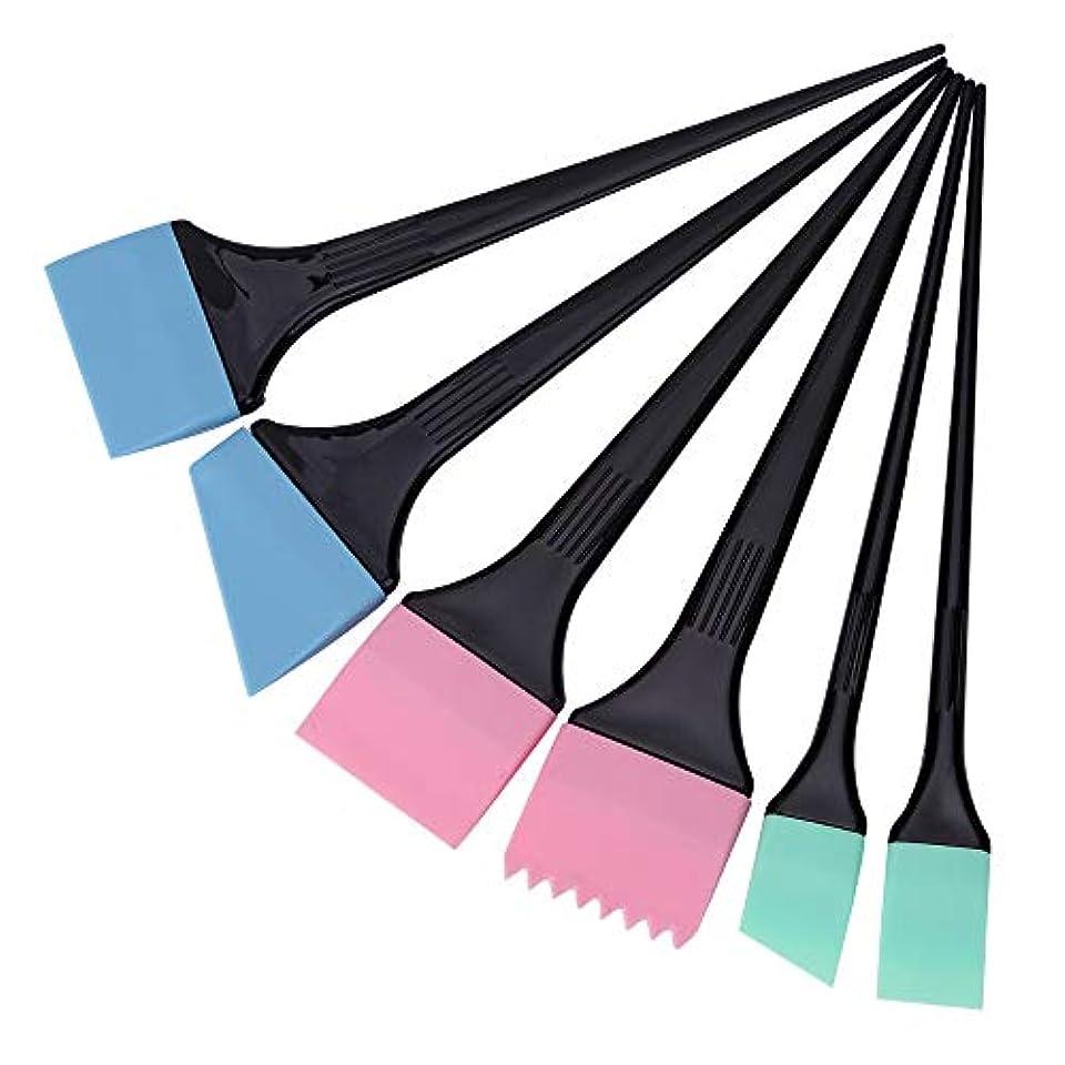 ヘアダイコーム&ブラシ 毛染めブラシ 6本/セット 着色櫛キット プロサロン 理髪スタイリングツール へアカラーセット グリーン
