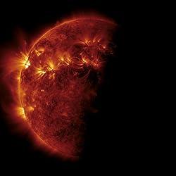 日食中に撮影された太陽のコロナと磁気ループ