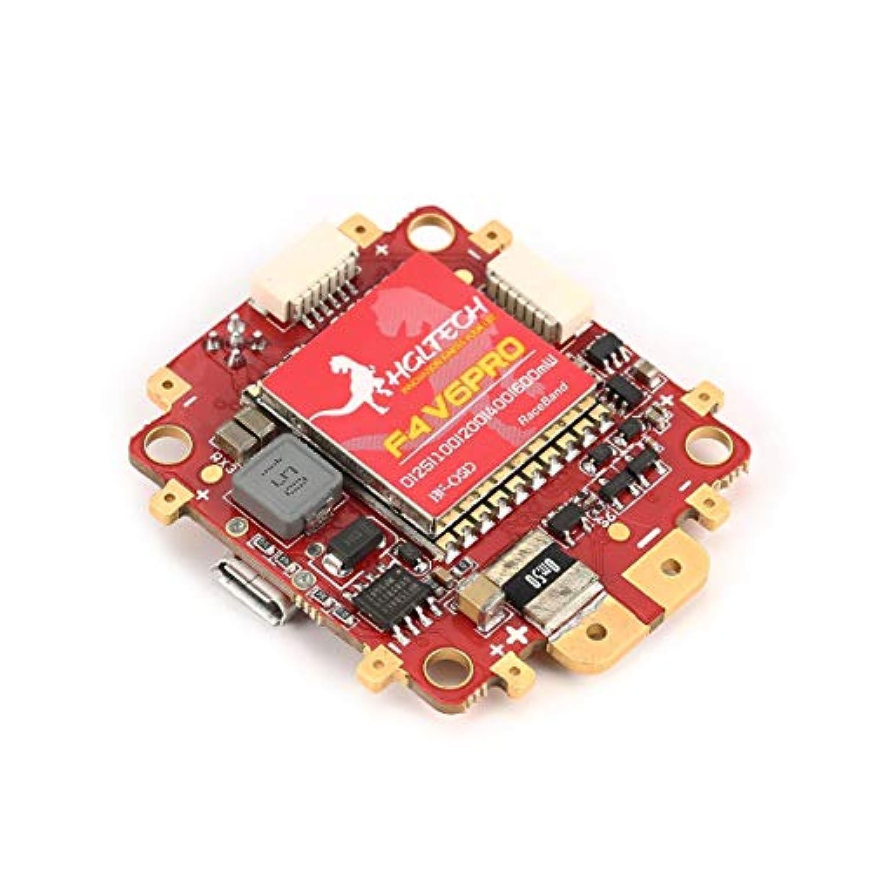 HGLRC F4 V6PROフライトコントローラ5.8Gトランスミッタ付き5V BEC 48CH RCレーシングドローン用BETAFLIGHT OSD PDB(カラー:レッド)
