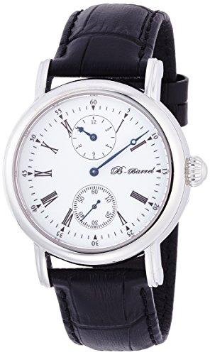 [ビーバレル]B-Barrel 腕時計 機械式レギュレーター(自動巻) ホワイト×ブラックレザー BB0048-ROSV