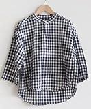 [81731] prit(プリット) 40/1フレンチギンガムチェックシャツ 6分袖スタンドカラープルオーバー サイズ 0 01.オフ