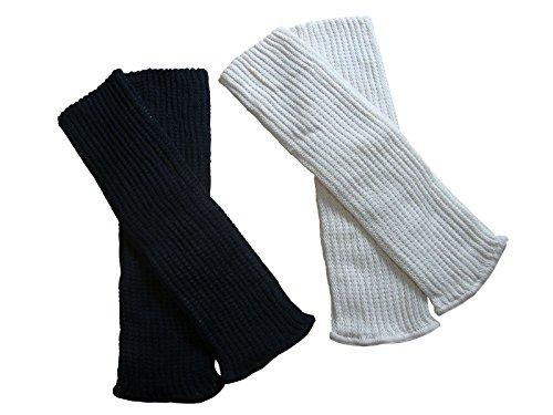 シルク レッグウォーマー カラーが選べる【2足組 】38㎝ (ピンクベージュ&オフホワイト) 絹&綿の2重編み