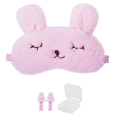 YIUZH アイマスク 安眠 電車 飛行機 旅行に最適 長さ調節可能 おしゃれ可愛い 快眠グッズ シリコン製スイミング耳栓とケース付き (ジェルなし, ピンク)