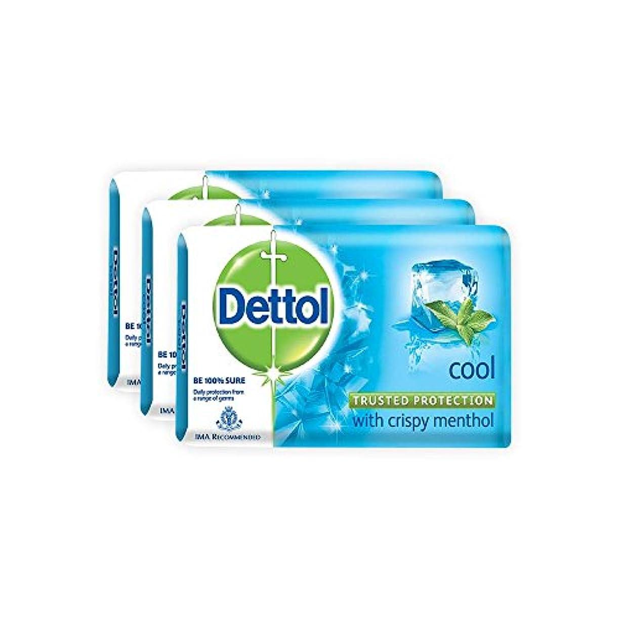 雨頑固な薄いDettol Cool Bar Soap for Healthy Skin Pack of 3 (3 X 125 g)