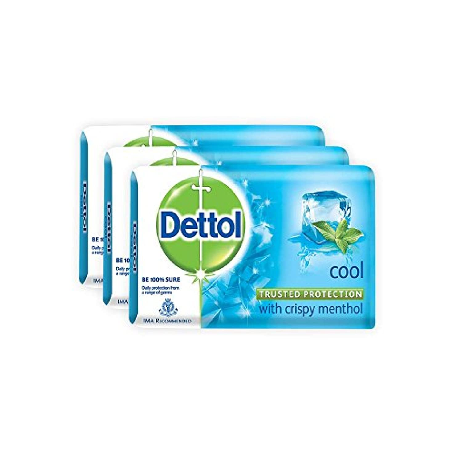 冒険力相対サイズDettol Cool Bar Soap for Healthy Skin Pack of 3 (3 X 125 g)