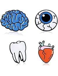 かわいい漫画のピンの臓器の眼球の心の歯の脳のブローチセット、シャツのセーターのカーディガンの帽子の装飾、4個セット