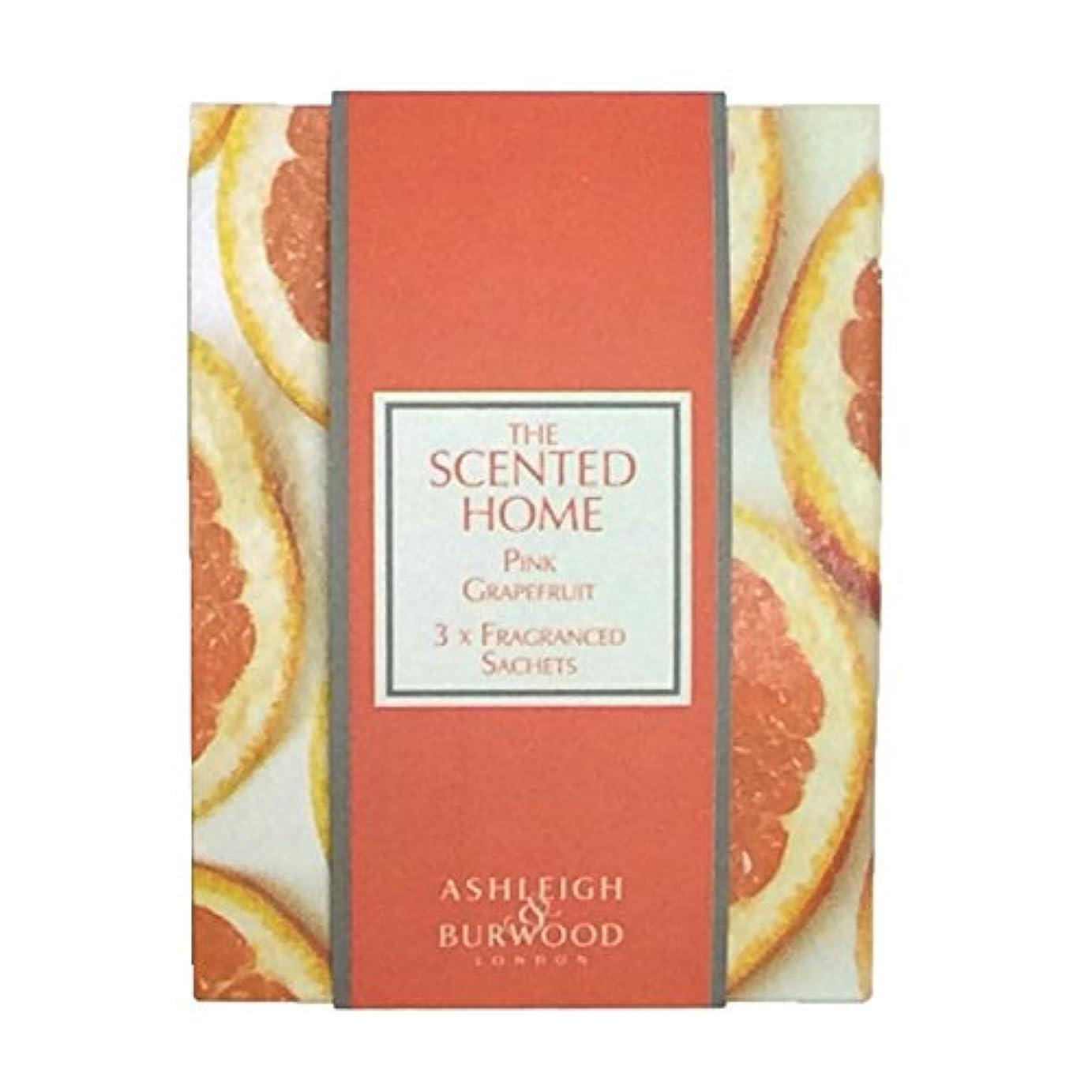 受粉する緩む背景Ashleigh&Burwood サシェ×3個 ピンクグレープフルーツ Sachet×3 Pink Grapefruit アシュレイ&バーウッド