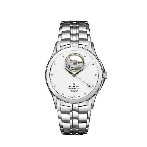 [エドックス] EDOX 腕時計 Men's Grand Ocean Automatic Steel Silver Dial Window Watch スイス製自動巻 85013 3 AIN メンズ [TimeKingバンド調節工具& HARP高級セーム革セット]【並行輸入品】