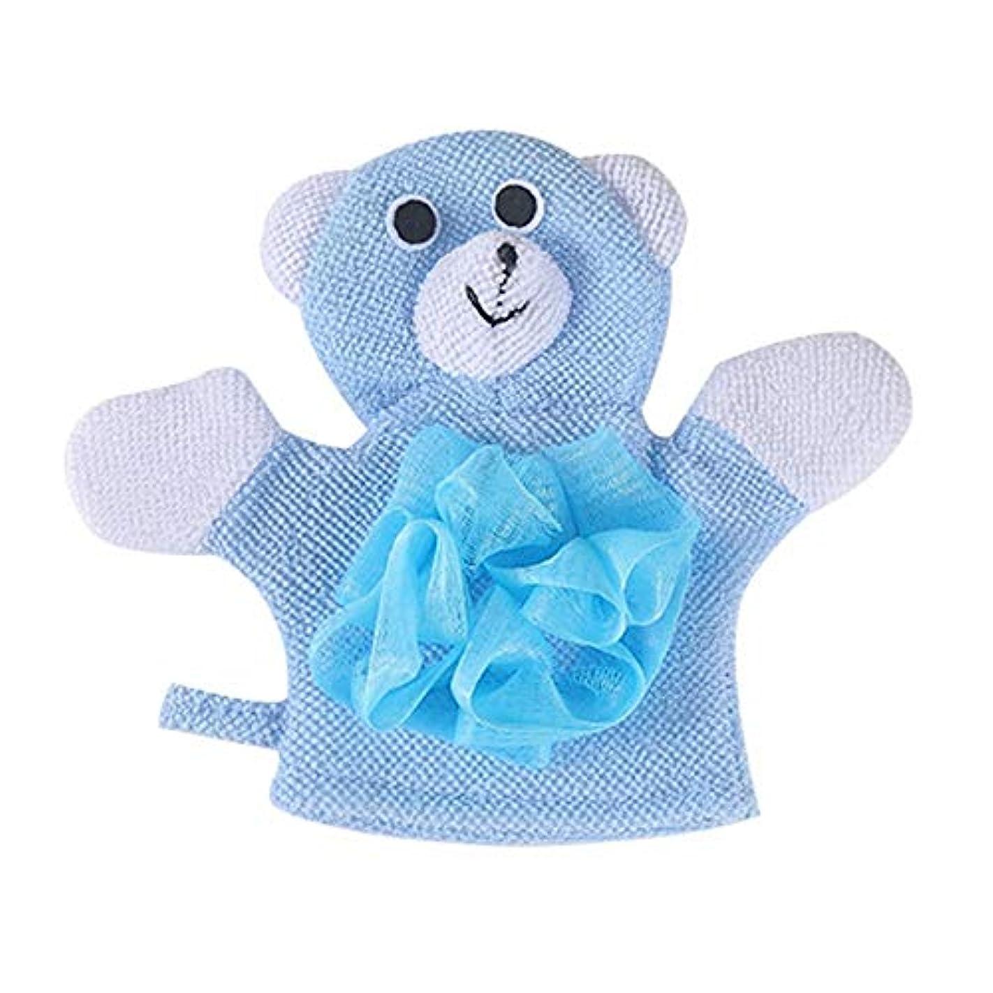 BTXXYJP お風呂用手袋 あかすり シャワー手袋 ボディブラシ やわらか バス用品 ボディタオル 角質除去 (Color : Blue)