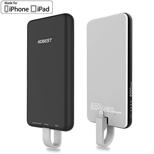 「内蔵式 ライトニング ケーブル」Hobest モバイルバッテリー MFi認証 ライトニング / microUSBコネクタ付 8000mAh 2台同時充電可能 急速 iPhone、iPad& Android スマトーフォン対応
