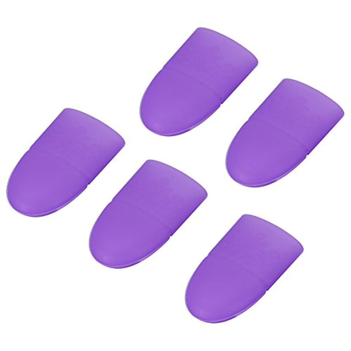 代数ステッチピアニストネイルジェルポリッシュキャップ、6色5個/セットネイルアートソークオフキャップジェルポリッシュリムーバーマニキュアソフトシリコン再利用クリップ(#3)
