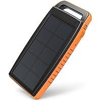 ソーラーモバイルバッテリー RAVPower 15000mAh ソーラーチャージャー 太陽光で充電 ソーラーパネル USB 2ポート LEDライト付 モバイルバッテリー 旅行 野外 アウトドア 防災 非常用 (オレンジ)