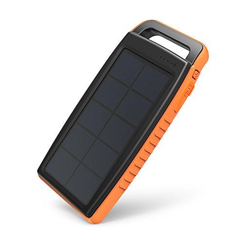 ソーラーチャージャー RAVPower 15000mAh ソーラーバッテリー (太陽光で充電、 ソーラーパネル 、 USB 2ポート 、LEDライト付) モバイルバッテリー 旅行 野外 アウトドア 防災 非常用 RP-PB003