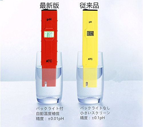 Pamia PHメーター デジタルpH計 水質測定器 バックライト 校正剤付き 自動温度補償 高精度±0.05pH  熱帯魚飼育等の水質検査に