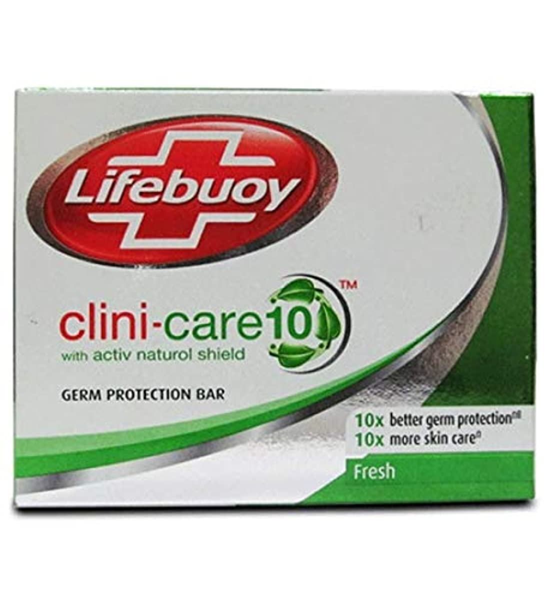 Lifebuoyバーソープクリニシールド10フレッシュアンチバクテリア、70グラム (6個パック)