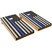 警察ブルーストライプフラグ – Cornholeクルー – ACA Regulation Size Cornholeボードセット