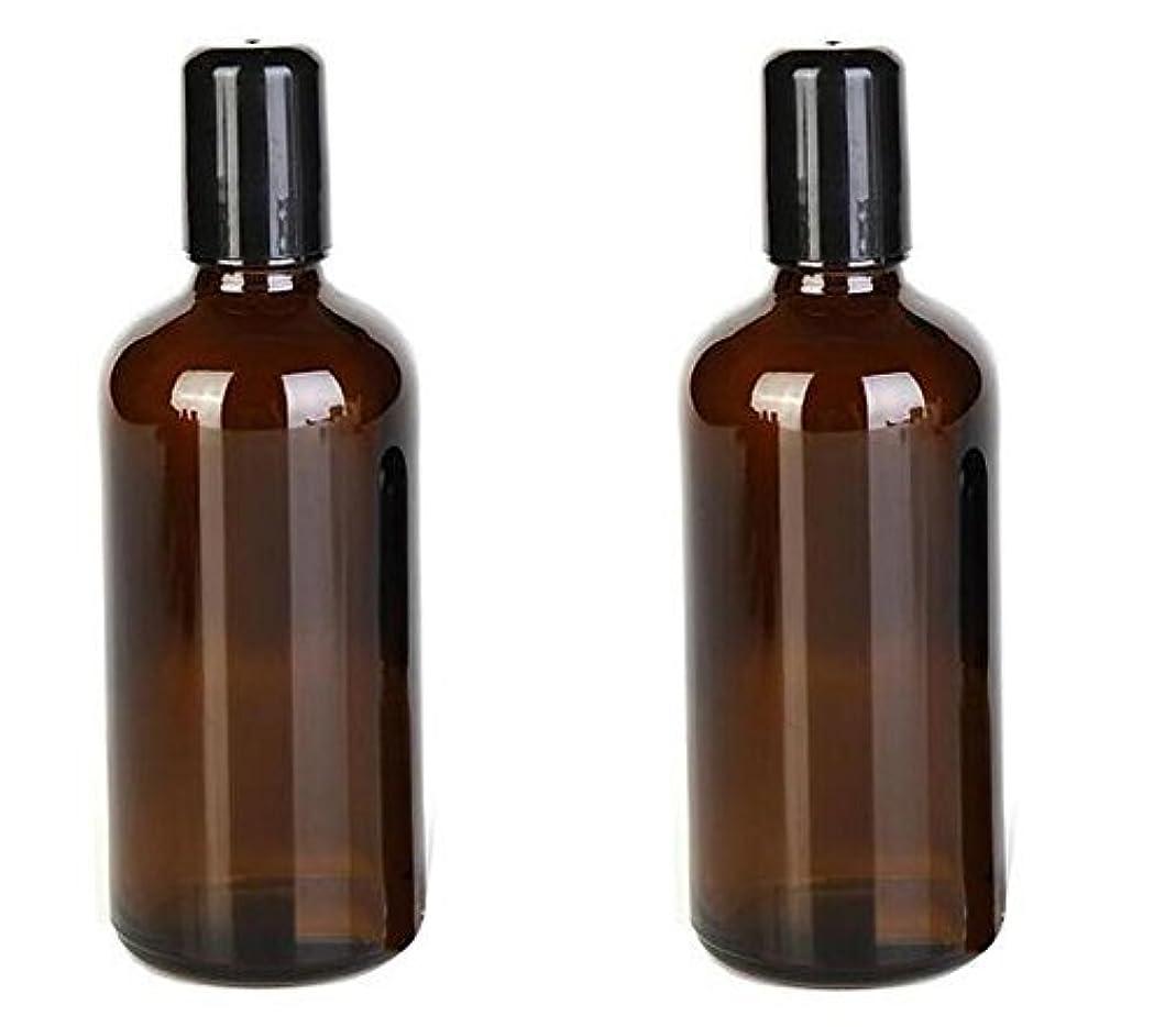 気配りのあるびんジャグリング2PCS 100ML /3.4oz Amber Glass Empty Refillable Roll On Bottles With Metal Roller Balls Roll-On Container For Essential...
