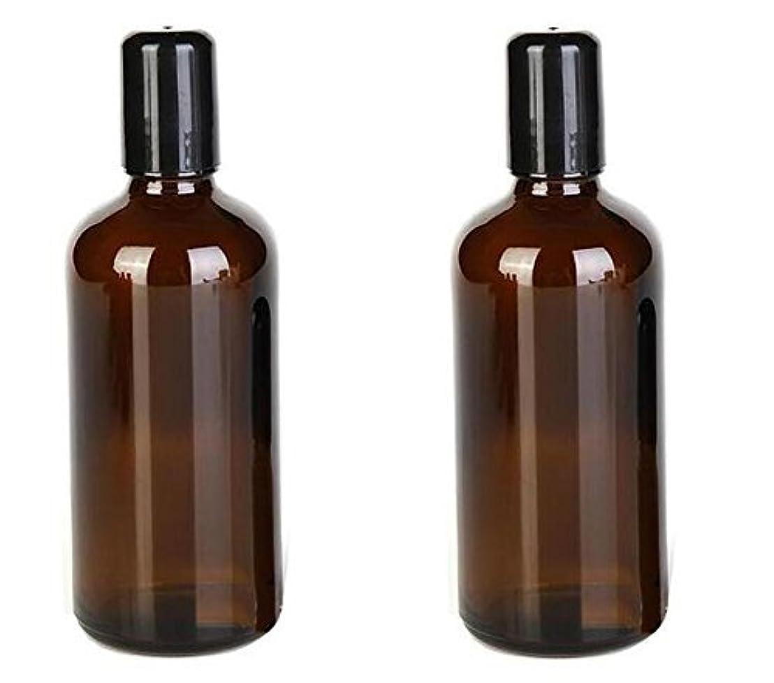 ヒューズ息切れ耐えられる2PCS 100ML /3.4oz Amber Glass Empty Refillable Roll On Bottles With Metal Roller Balls Roll-On Container For Essential...