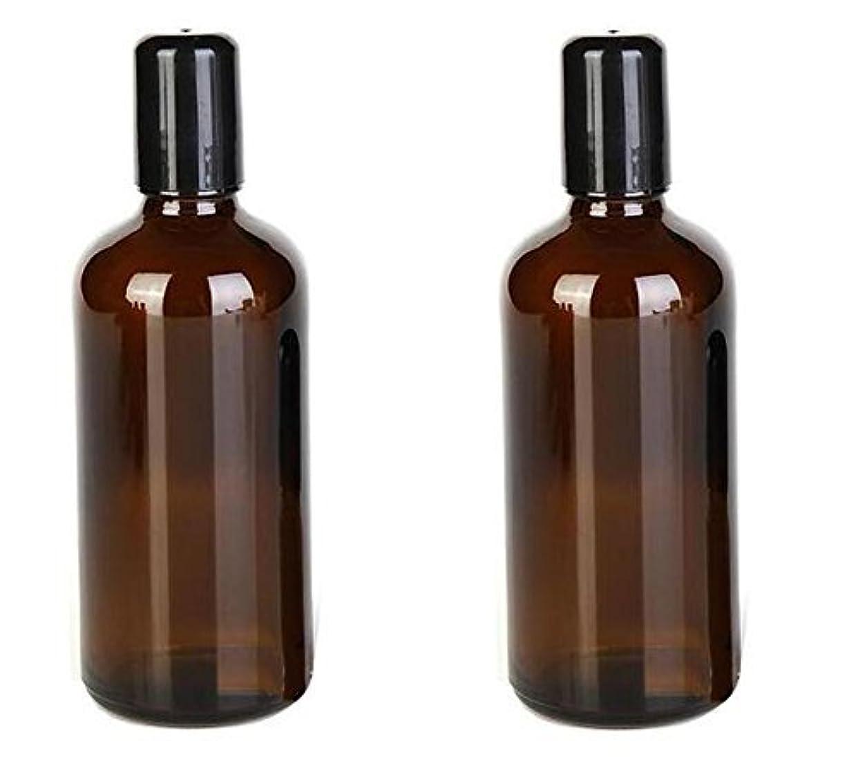 橋脚テレビクリスマス2PCS 100ML /3.4oz Amber Glass Empty Refillable Roll On Bottles With Metal Roller Balls Roll-On Container For Essential...
