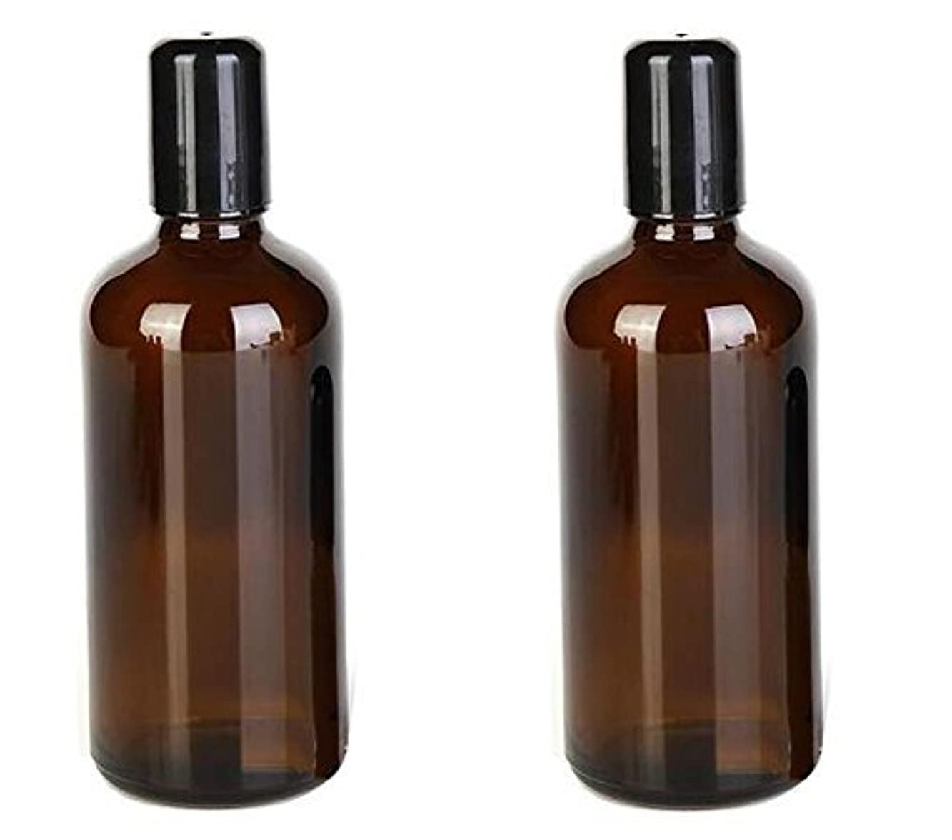 スリムカフェテリア遺伝子2PCS 100ML /3.4oz Amber Glass Empty Refillable Roll On Bottles With Metal Roller Balls Roll-On Container For Essential...
