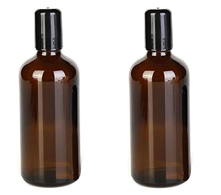 多数のリンケージシャイニング2PCS 100ML /3.4oz Amber Glass Empty Refillable Roll On Bottles With Metal Roller Balls Roll-On Container For Essential...