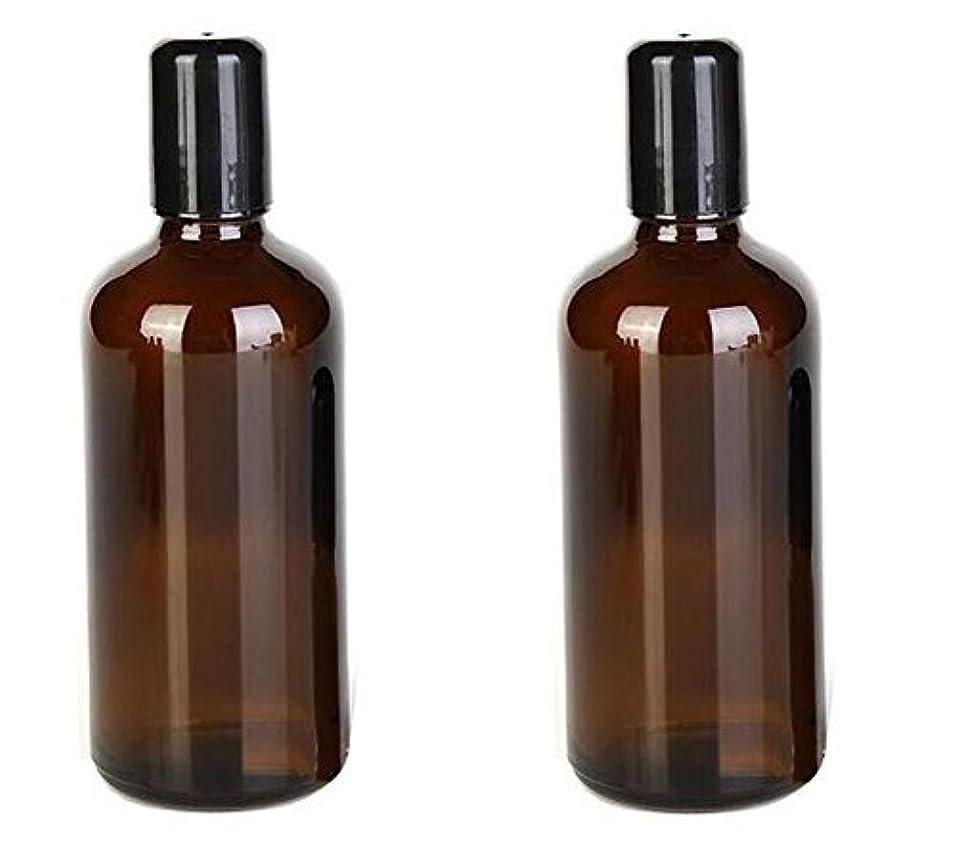 パス手当松2PCS 100ML /3.4oz Amber Glass Empty Refillable Roll On Bottles With Metal Roller Balls Roll-On Container For Essential...