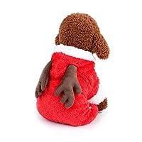 LilyAngel ペットの犬の犬のクリスマスの服の服のコート服のパーカーの犬と猫のパーカー (Color : Red elk, サイズ : M)