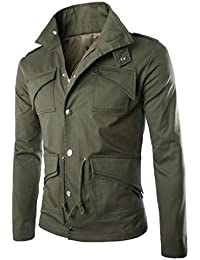 Keaac メンズマルチポケットジャケット屋外カジュアルコートウインドブレーカージャケット