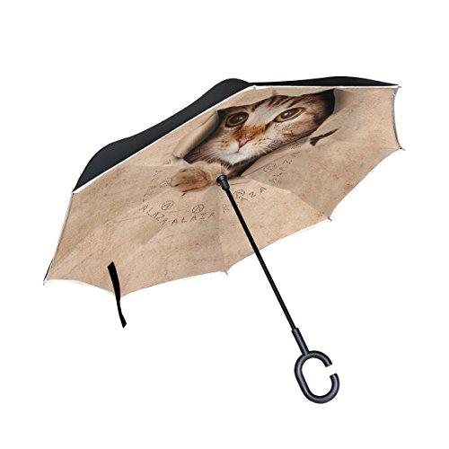 [해외]유사키 (USAKI) 반대로 접어 식 우산 거꾸로 우산 양산 길이 우산 UV 컷 자립 식 청우 겸용 手離れ C 형 수중 풍속 발수 가공 비즈니스 용 차량용 신사 우산 여성 우산 귀여운 고양이 무늬 재미 갈색/Yusaki (USAKI) Refoldable Umbrella Umbrella U...