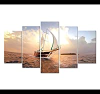 YFYW ウォールアートキャンバスHDプリント絵画5ピースヨットサンシャインポスター現代海景セーリングボート絵家の装飾-40x60 40x80 40x100cmなしフレーム