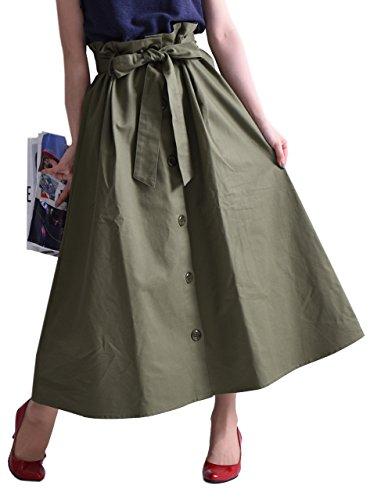 [ゴールドジャパン] ボトムス スカート ロングスカート フレアスカート ウエストリボンスカート コットンスカート 大きいサイズ レディース sw-0132 LL-3L カーキ