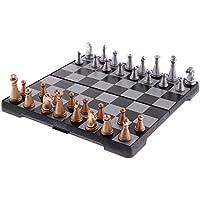 sunnimixポータブルトラベル磁気チェスプラスチックボードトーナメントチェスセット耐久性