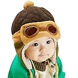 TINYPONY 帽子 幼児 冬 暖かい 厚手 ふわふわ パイロット 耳あて付き かわいい 人気 男女 10毛月から4歳まで (コーヒー色)