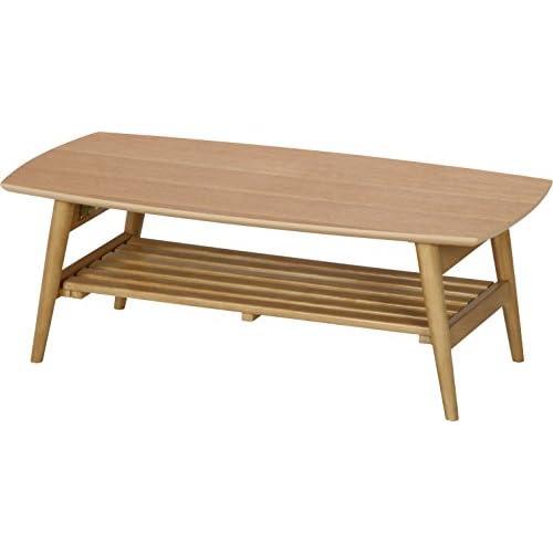 不二貿易 リビングテーブル ルレーウ゛ェ 幅90cm 棚付 9045 折りたたみ可能 10619