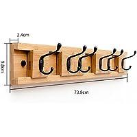 ベッドルームシンプルウォールコートラック、壁掛けハットラック、クリエイティブエントランスシェルフ、ソリッドウッドコートラック (サイズ さいず : D73.8 * 9.8 * 2.4cm)