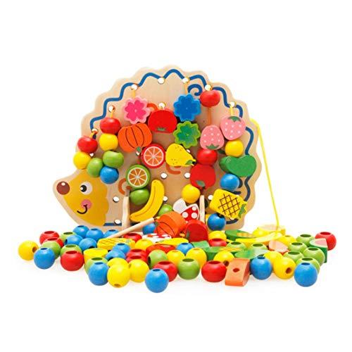 ハリネズミ形状ウッドフルーツ野菜ビーズビルディングブロックビルディングスレッド玩具ユニバーサルキッズ知育玩具 (Panda) (色:紫&青)