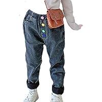 Macondoo Girls Fleece Jeans Elastic Waist Thicken Winter Harem Denim Pants