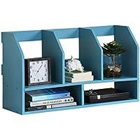Super Kh® ドキュメント収納ラック学生用デスクブックシェルフデスクトップフラワースタンドクリエイティブラックシンプルなオフィス用品ブルー60 x 20 x 34cm *