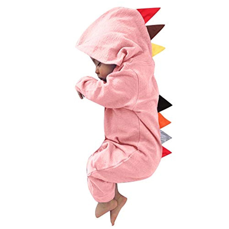 赤ちゃん服 幼児 子供服 可愛い ベビ用服 YOKINO ロンパース カバーオール 女の子 赤ちゃん服 幼児 子供服 男の子 フード付き 3D 漫画 男女兼用 柔らかな肌触り 仮装衣装 動物パジャマ 満月/出産祝い/プレゼント (70(6M), ピンク A)