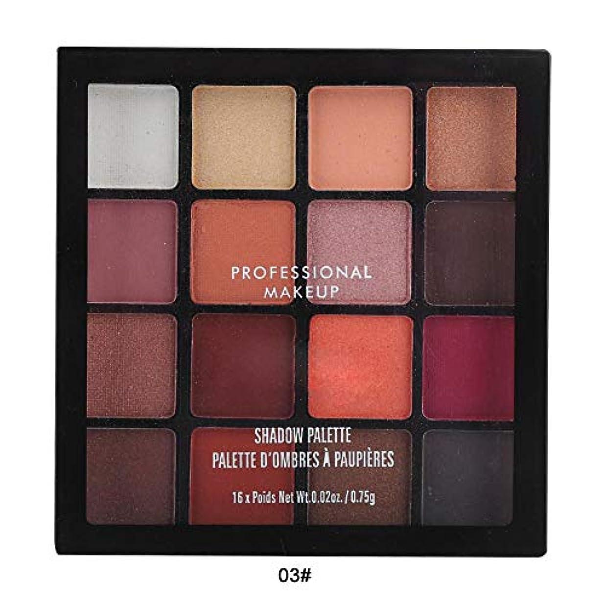 16色アイシャドウパレット、アイシャドウパレット化粧マットグロスアイシャドウパウダー化粧品ツール (03)